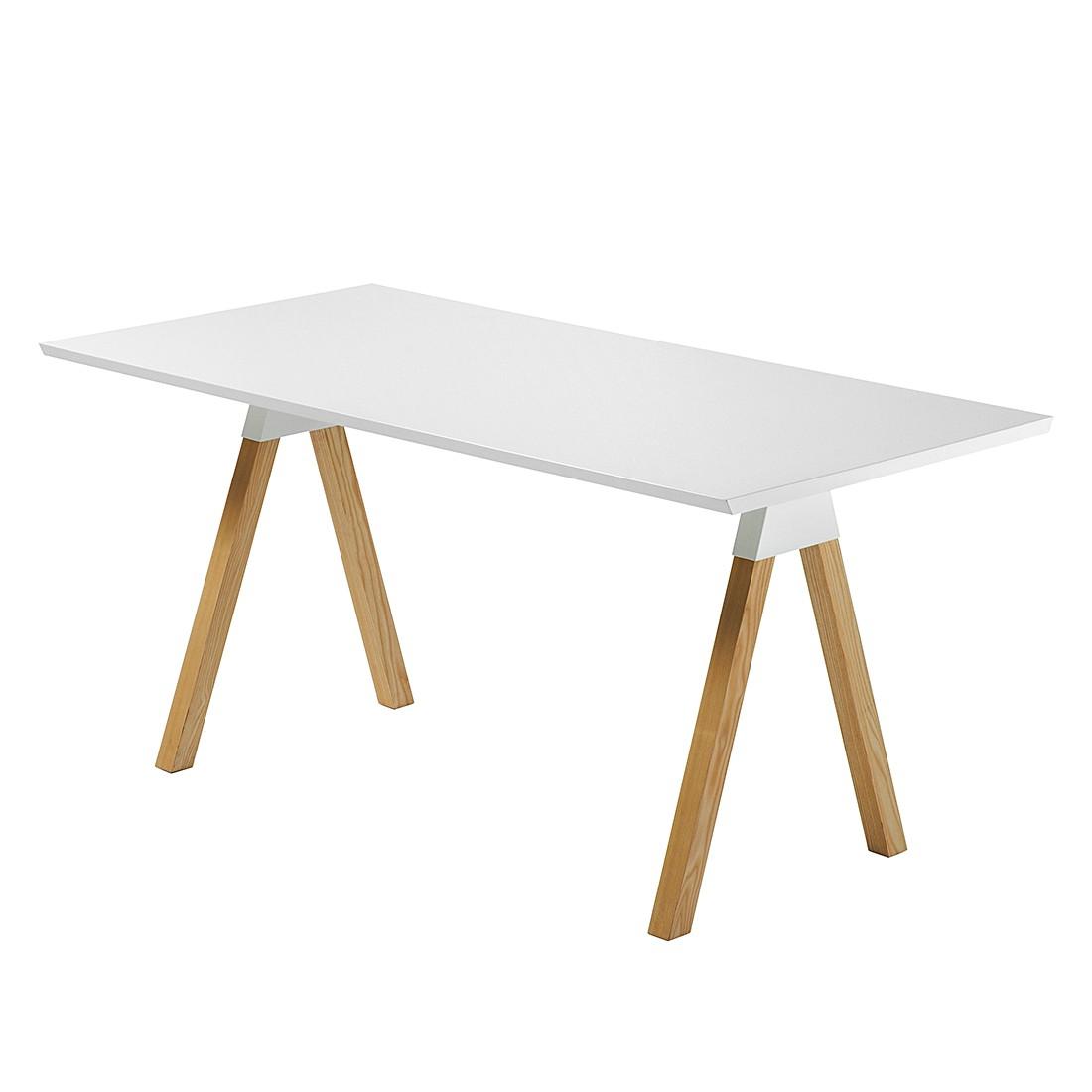 Table à manger Manasse - Frêne partiellement massif Blanc /, Norrwood