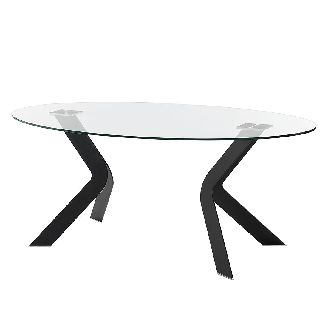 Table à manger Mende - Verre / Acier inoxydable - Verre clair / Noir, roomscape