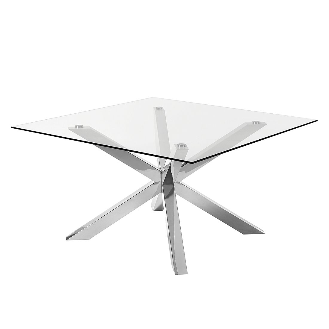 Table à manger Pinuccia - Verre clair / Acier inoxydable, Fredriks