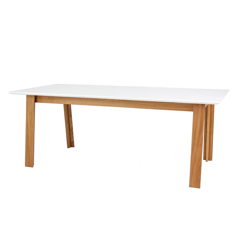 Table à manger Profil - Partiellement en chêne massif - Chêne / Blanc, Tenzo