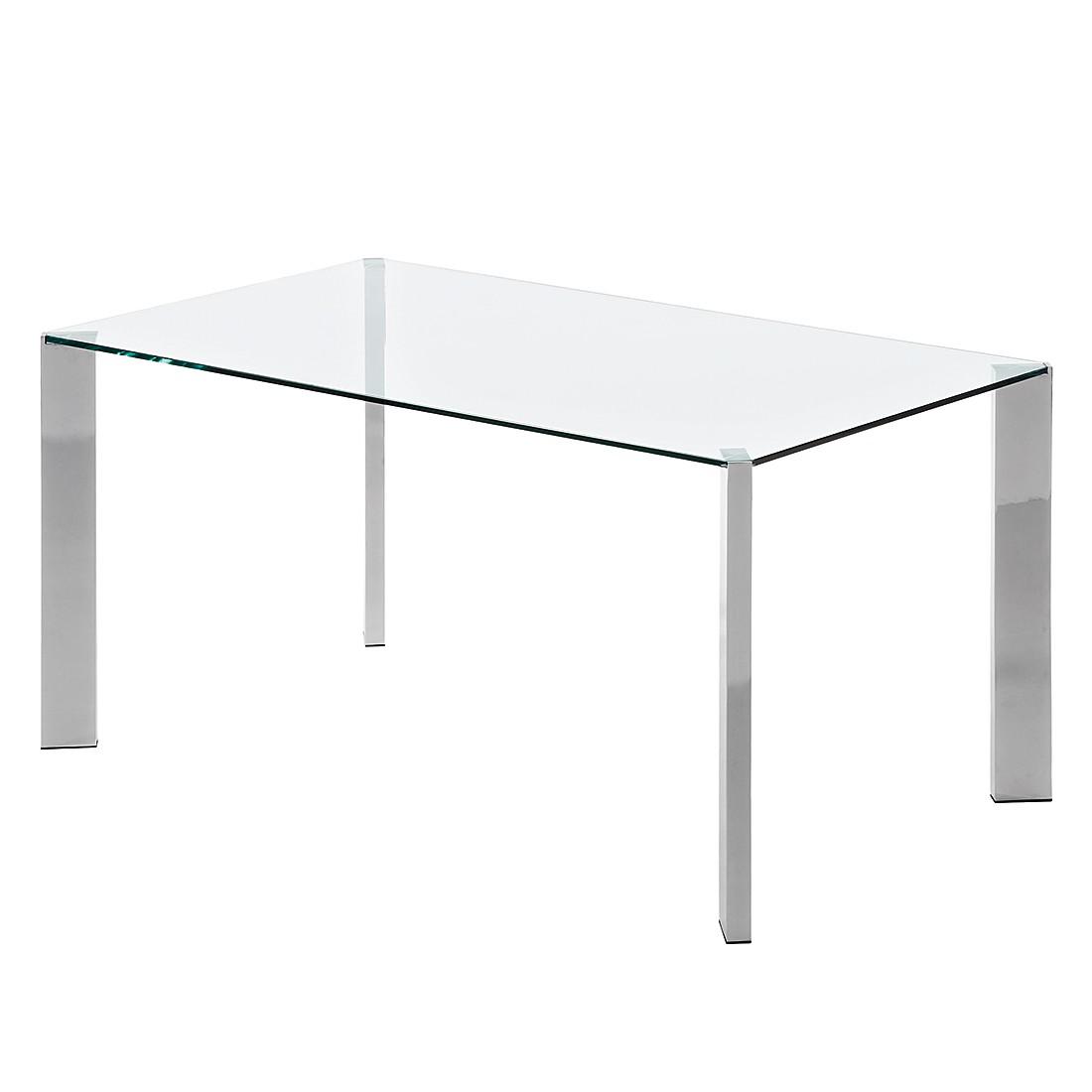 Table à manger Reuben - Verre / Acier inoxydable - Verre clair / Chrome - 160 x 90 cm, mooved
