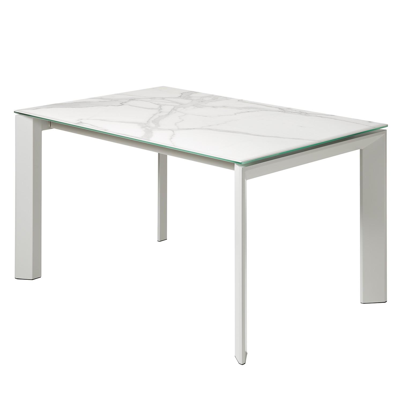 Table à manger Rineo (à rallonges) - Céramique / Acier - Blanc / Gris - 140 x 90 cm, Fredriks