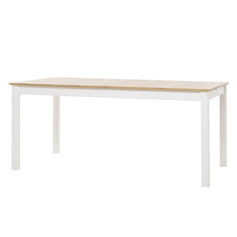 Table à manger Salme (avec rallonges) - Partiellement en pin massif - Imitation chêne de miel / Blan