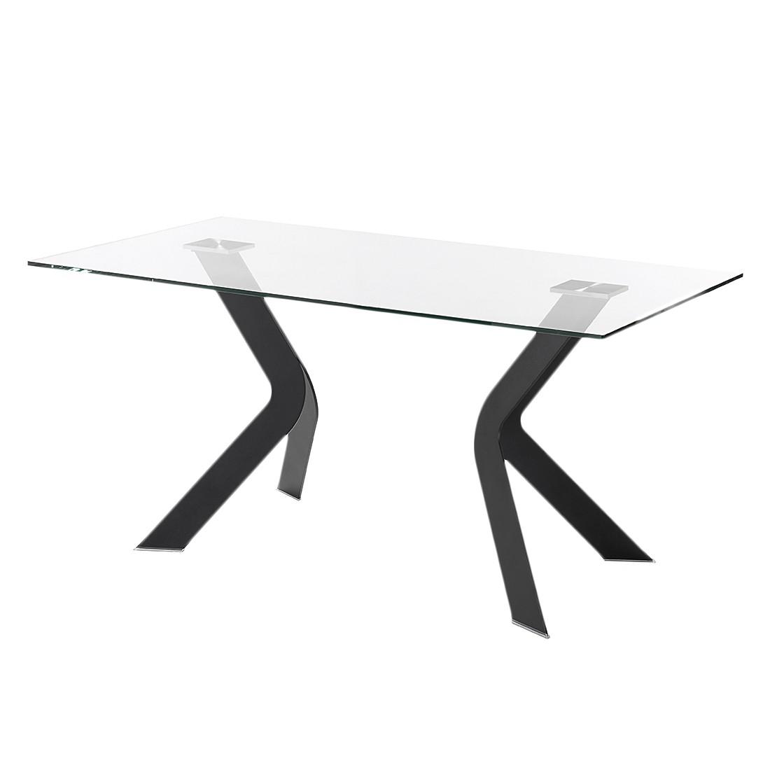 Eettafel Sarinna - glas/roestvrij staal - Helder glas/zwart - 180x90cm, roomscape