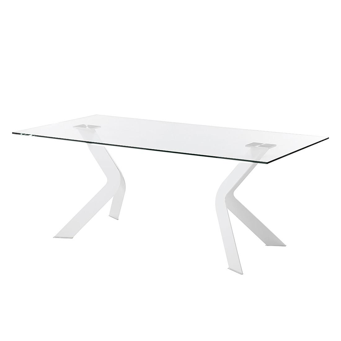 Eettafel Sarinna - glas/roestvrij staal - Helder glas/wit - 200x100cm, roomscape