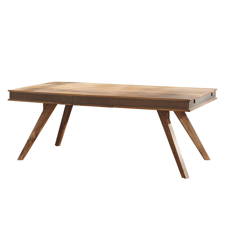 Table à manger Shan I (avec rallonges) - Sheesham massif / Imitation cuir, Shan Rahimkhan