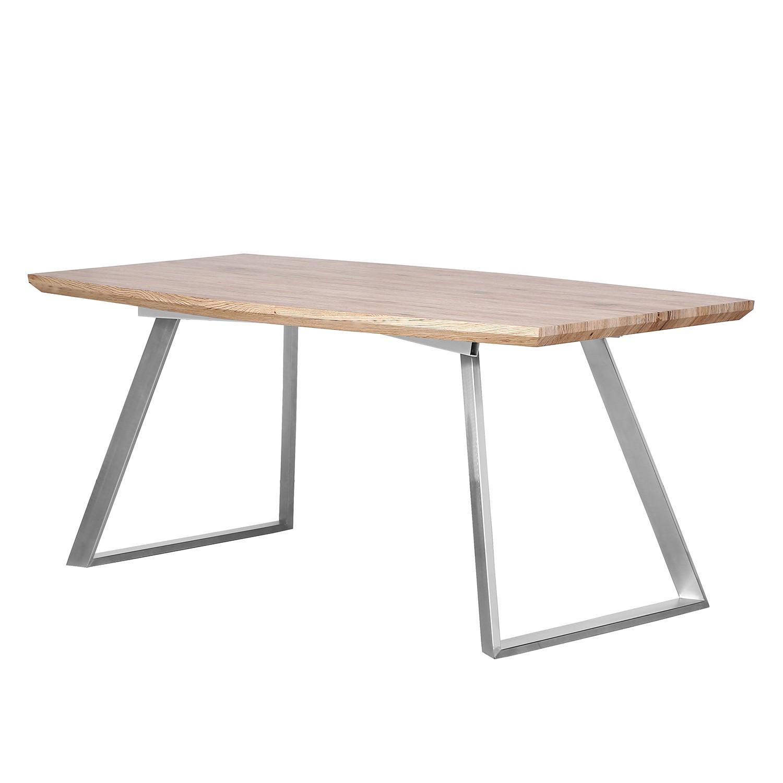 Table de salle à manger Slobo - Imitation chêne clair / Acier inoxydable, loftscape