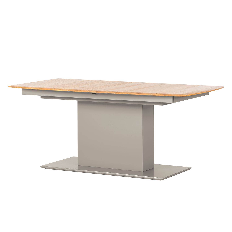Table à manger Solano - Chêne noueux / Gris platine - Avec rallonge centrale et plateaux insérés, Ne