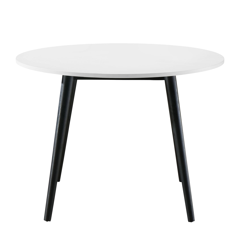 Table à manger Sunndal I - Partiellement en caoutchouc massif - Blanc / Noir, Morteens