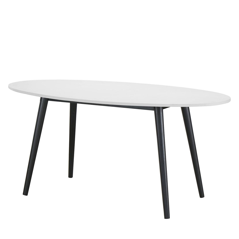 Table à manger Sunndal II - Partiellement en caoutchouc massif - Blanc / Noir, Morteens