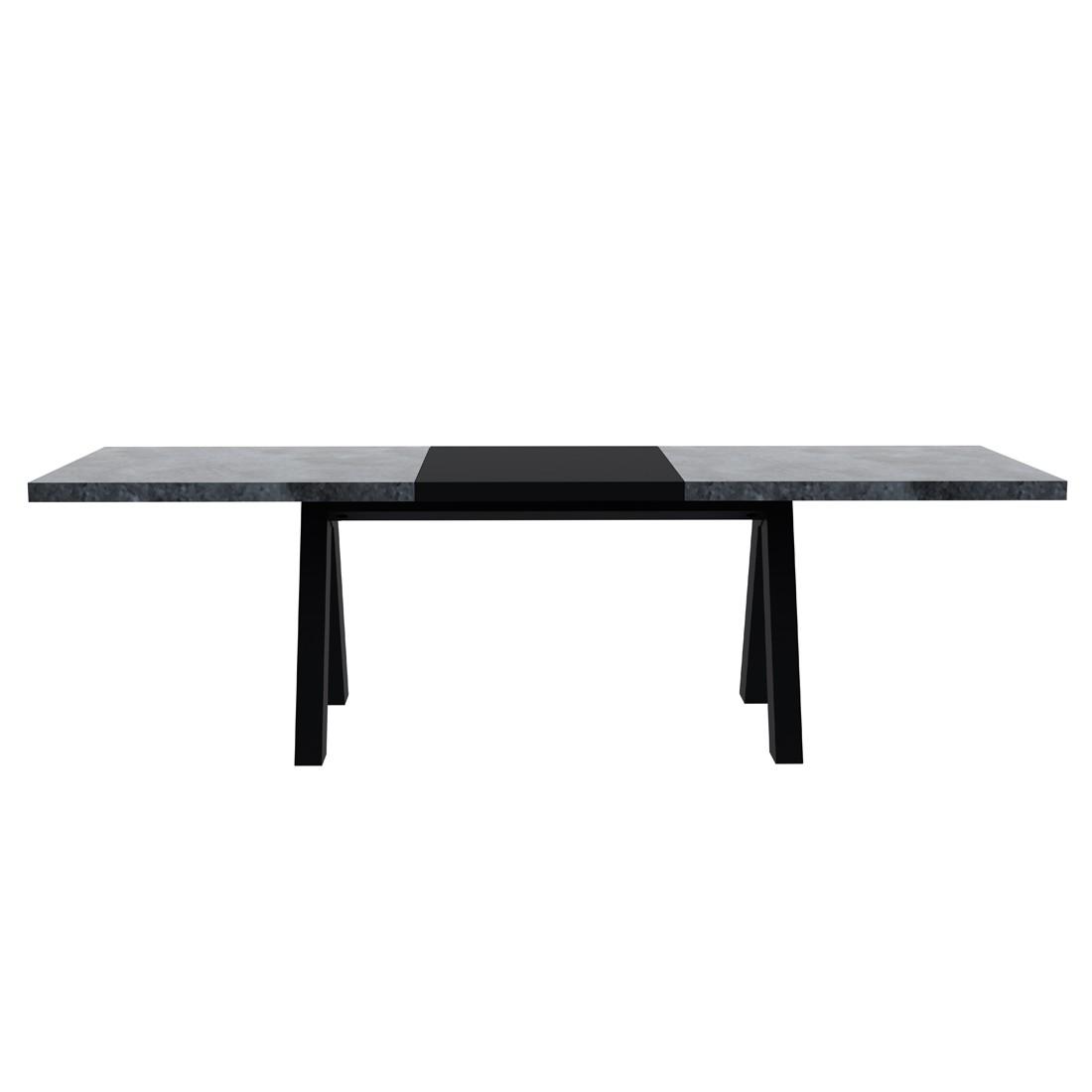 Table à manger Thornton (avec rallonge) - Imitation béton / noir, temahome