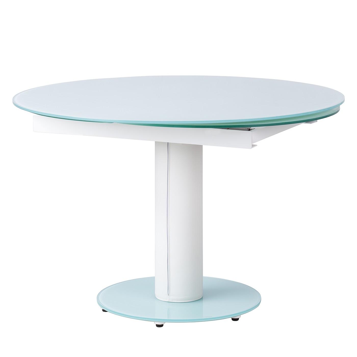 Table à manger Torgo (avec rallonge) - Verre / Imitation cuir - Blanc, Studio Copenhagen
