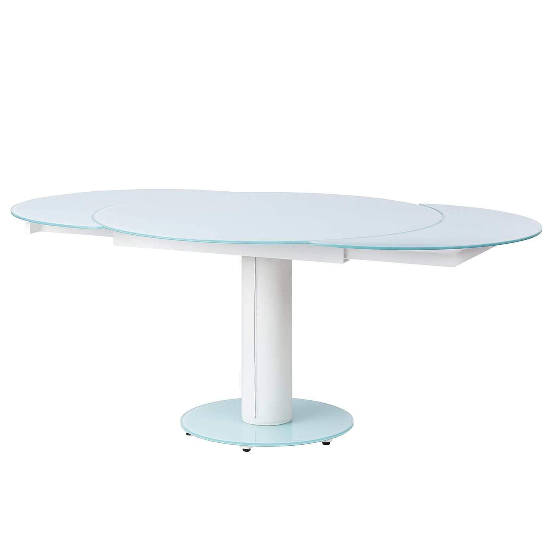Table à manger Torgo (avec rallonge) - Verre / Imitation cuir - Blanc, mooved