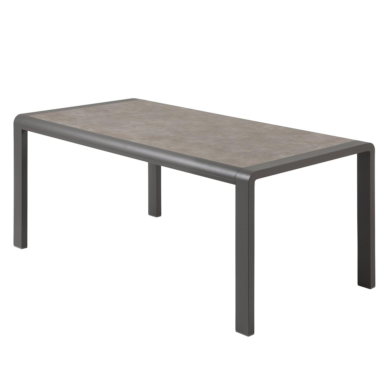 Eettafel Torria I - keramiek/aluminium - bruin - 160x90cm, Fredriks