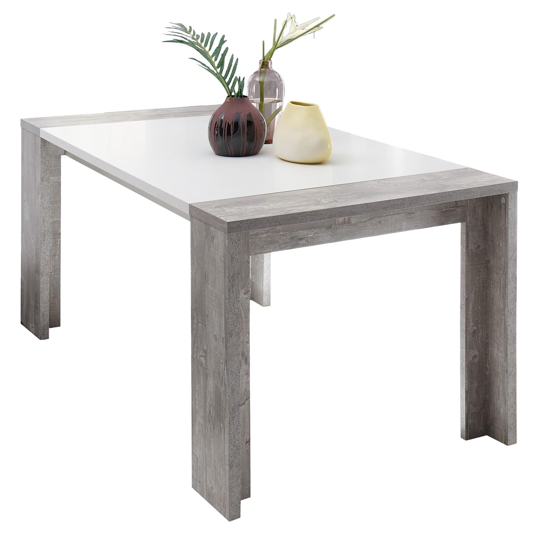 Table à manger Upton (avec rallonge) - Blanc mat / Imitation béton - 180 x 90 cm, mooved