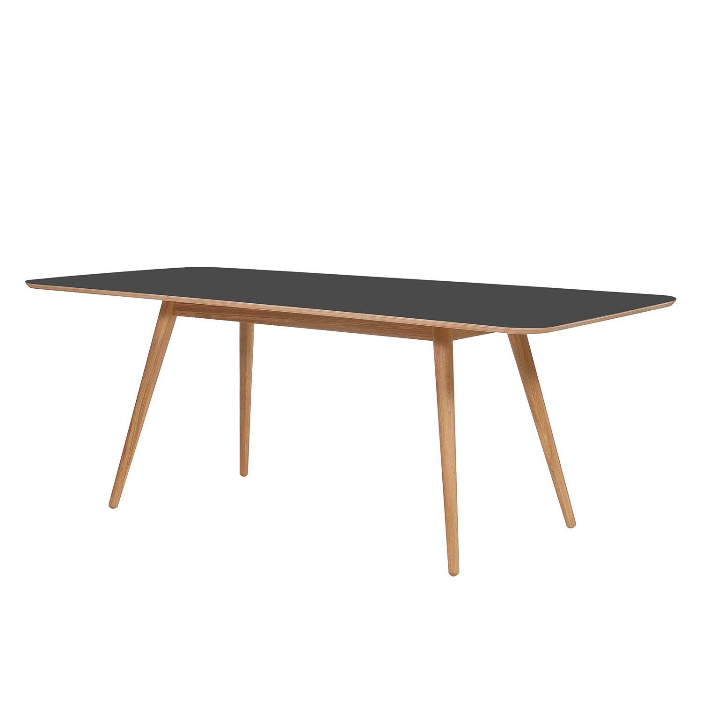 Esstisch Viggo - Eiche teilmassiv / Linoleum - Anthrazit / Eiche  bei Home24 - Möbel