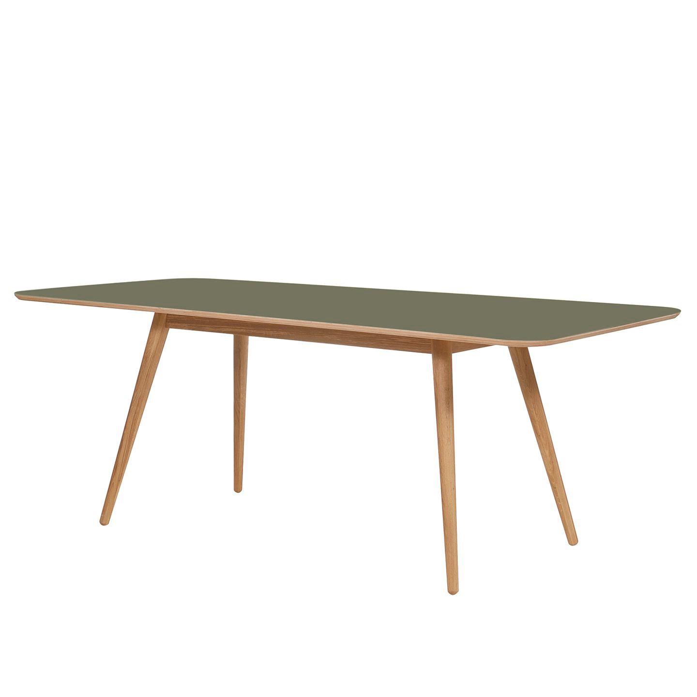 Table à manger Viggo - Chêne partiellement massif / Linoléum - Vert olive / Chêne - 140 x 90 cm, Stu