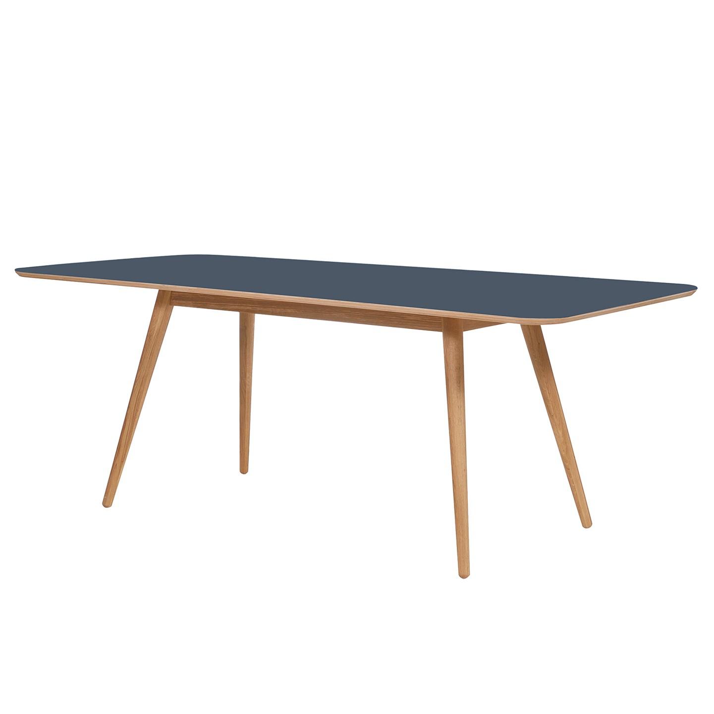 Eettafel Viggo - deels massief eikenhout/linoleum - Petrolblauw/eikenhout - 160x90cm, Studio Copenhagen