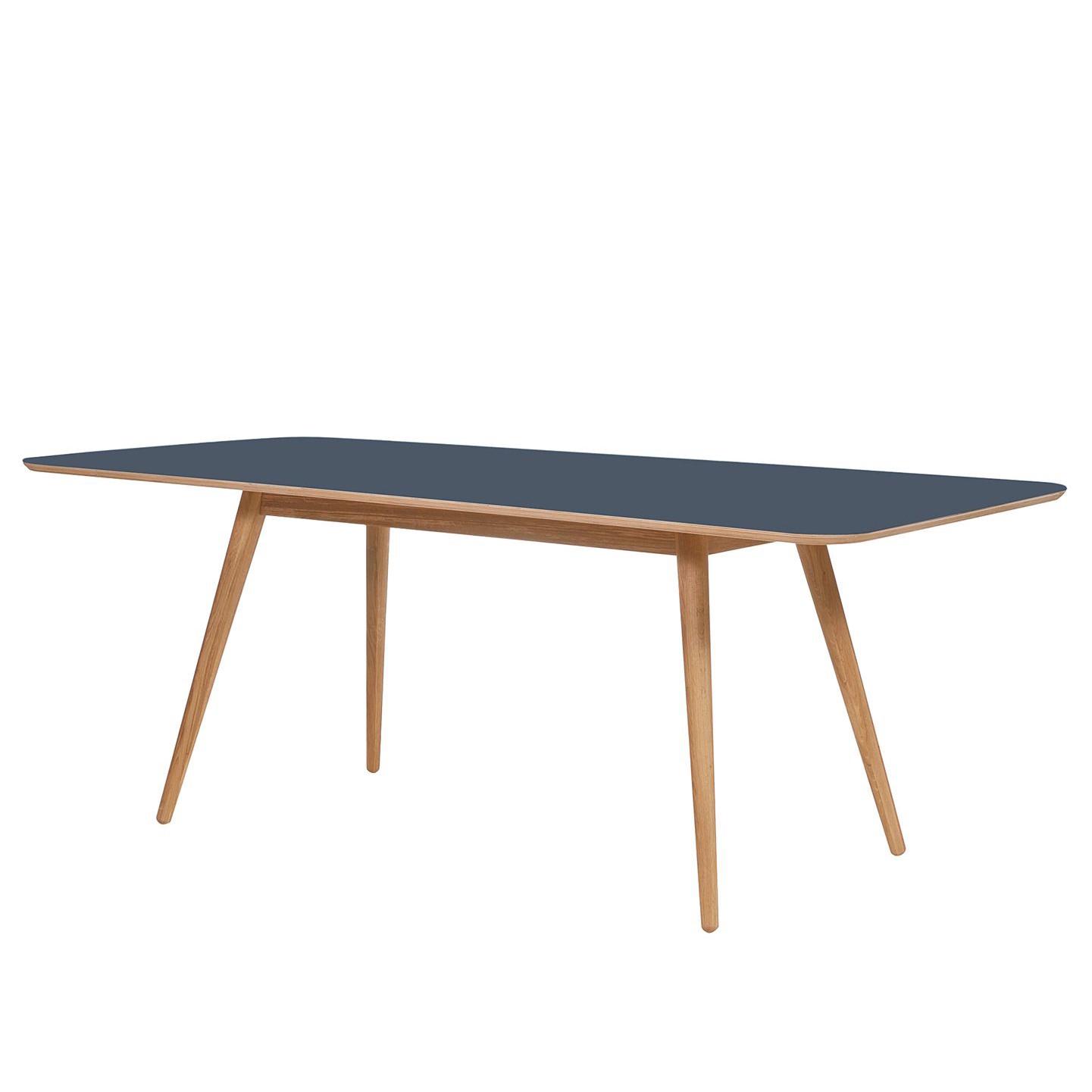 Eettafel Viggo - deels massief eikenhout/linoleum - Petrolblauw/eikenhout - 180x90cm, Studio Copenhagen