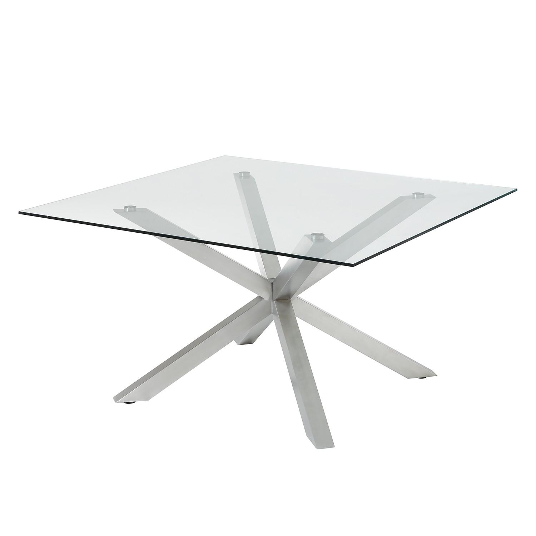 Table à manger Villaismus - Verre / Acier - Chrome, Fredriks
