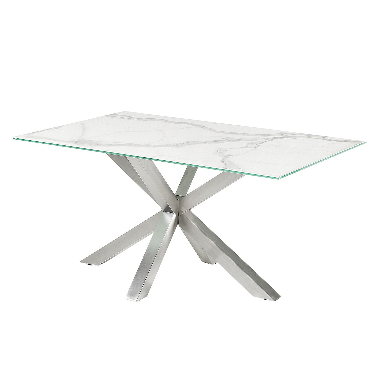 Table à manger Zuccarello I - Céramique / Acier - Blanc / Gris, Morteens