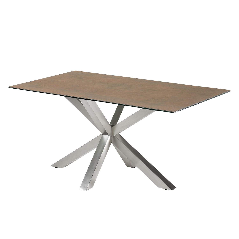 Eettafel Zuccarello I - keramiek/staal - Gemêleerd bruin, Morteens