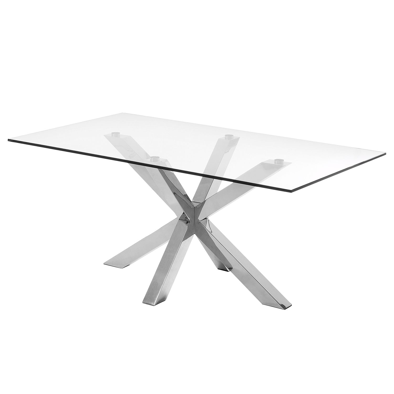 Table à manger Zuccarello IV - Verre / Acier - Chrome, Morteens