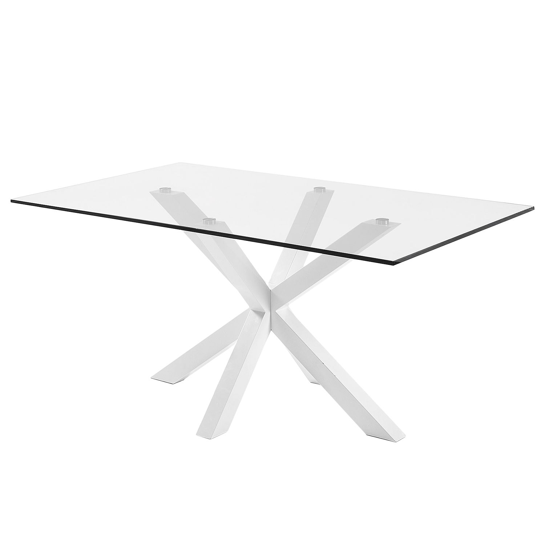 Eettafel Zuccarello IV - glas/staal - Wit, Morteens