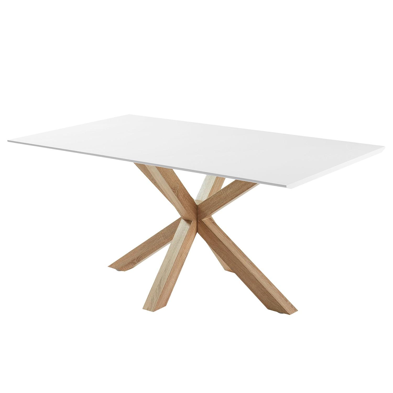 Table à manger Zuccarello III - Blanc / Imitation chêne Sonoma, Morteens