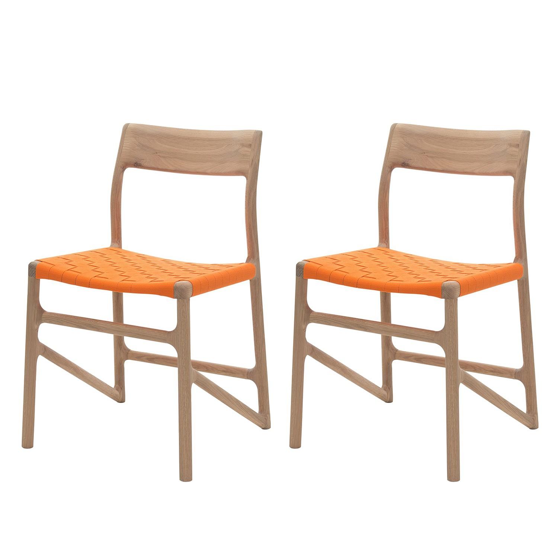 Esszimmerstuhl Fawn (2er-Set) - Baumwollstoff / Eiche massiv - Orange, Gazzda