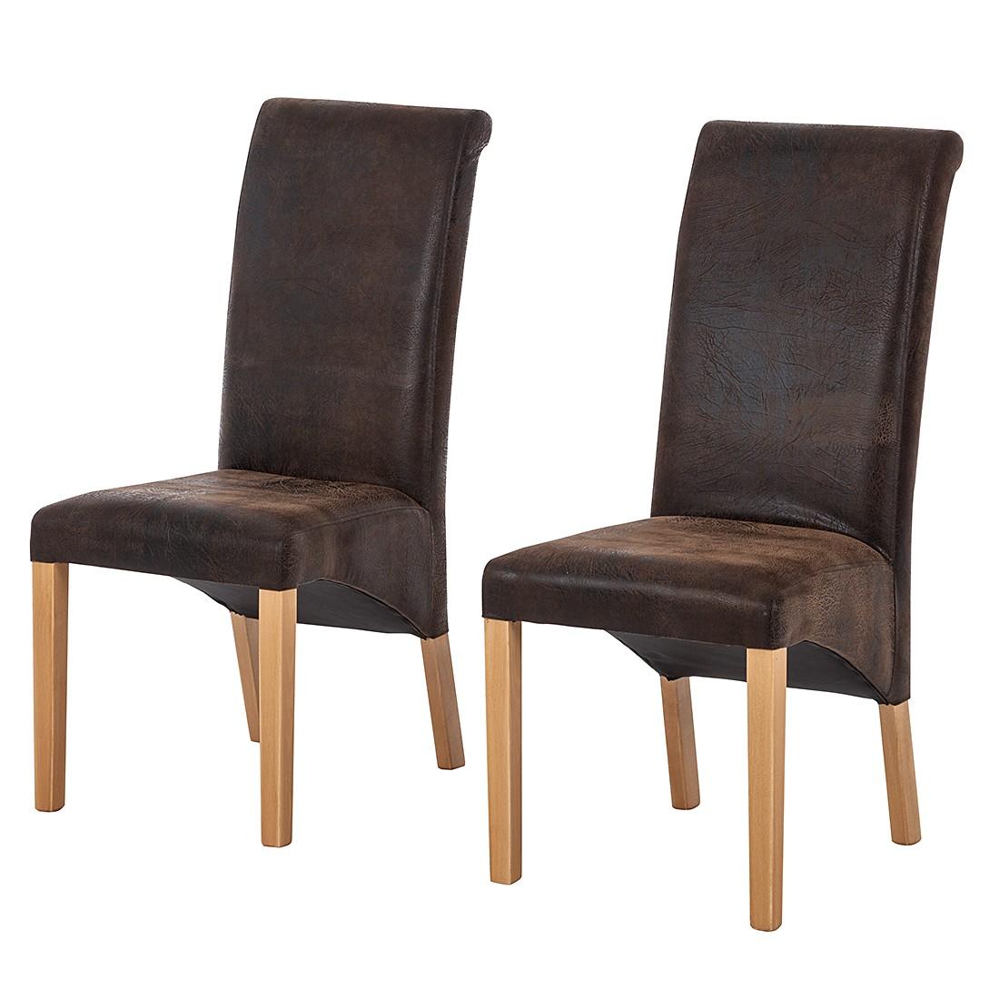 Eetkamerstoelen Jörn (2-delige set) - antiek bruin kunstleer/beukenhout, Fredriks