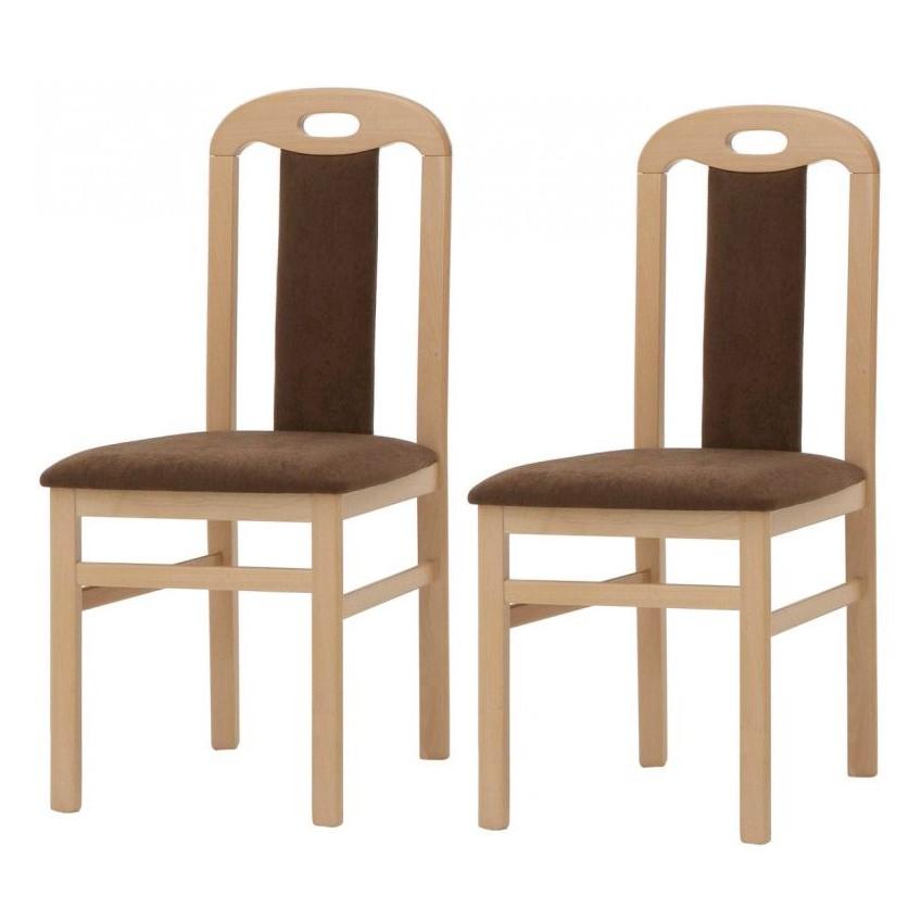 Eetkamerstoelen Lennard (2-delige set) - massief beukenhout/bruin microvezel, Home Design