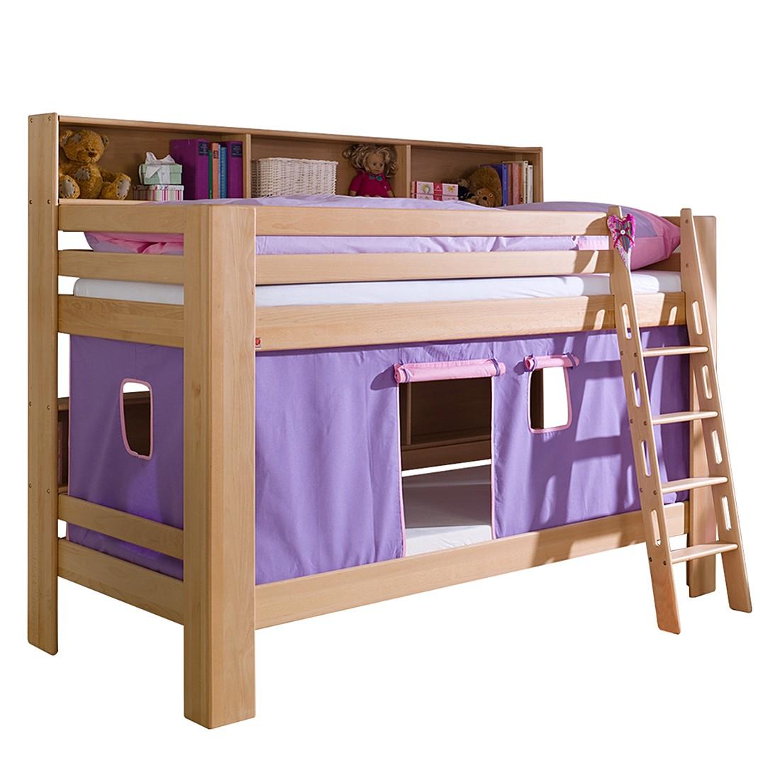 Etagenbett Jan - Buche massiv - Vorhang Violett/Rosa, Relita