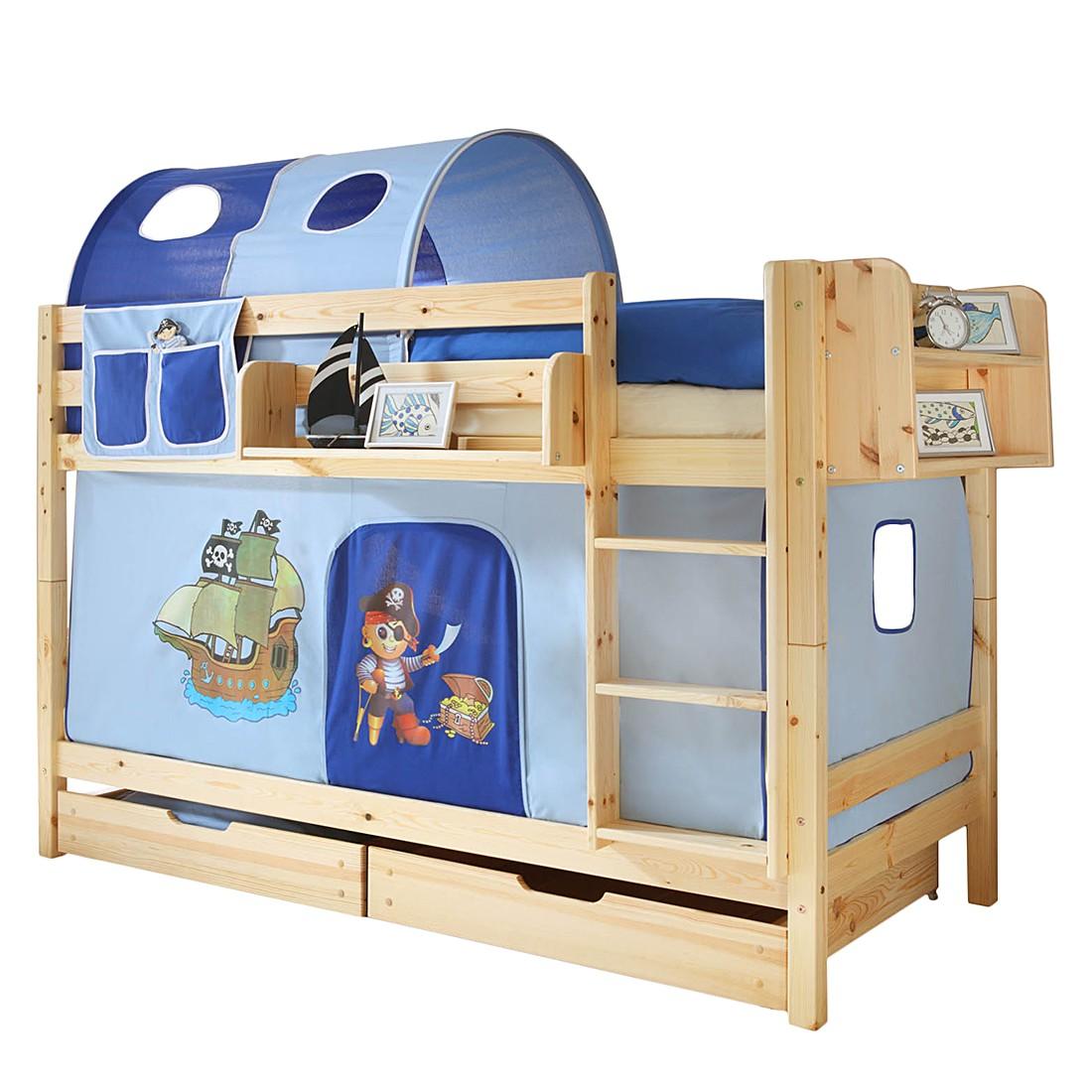 Lit superposé Marcel I - Pin massif Bleu Avec tunnel et 2 sommiers à roulettes, Ticaa