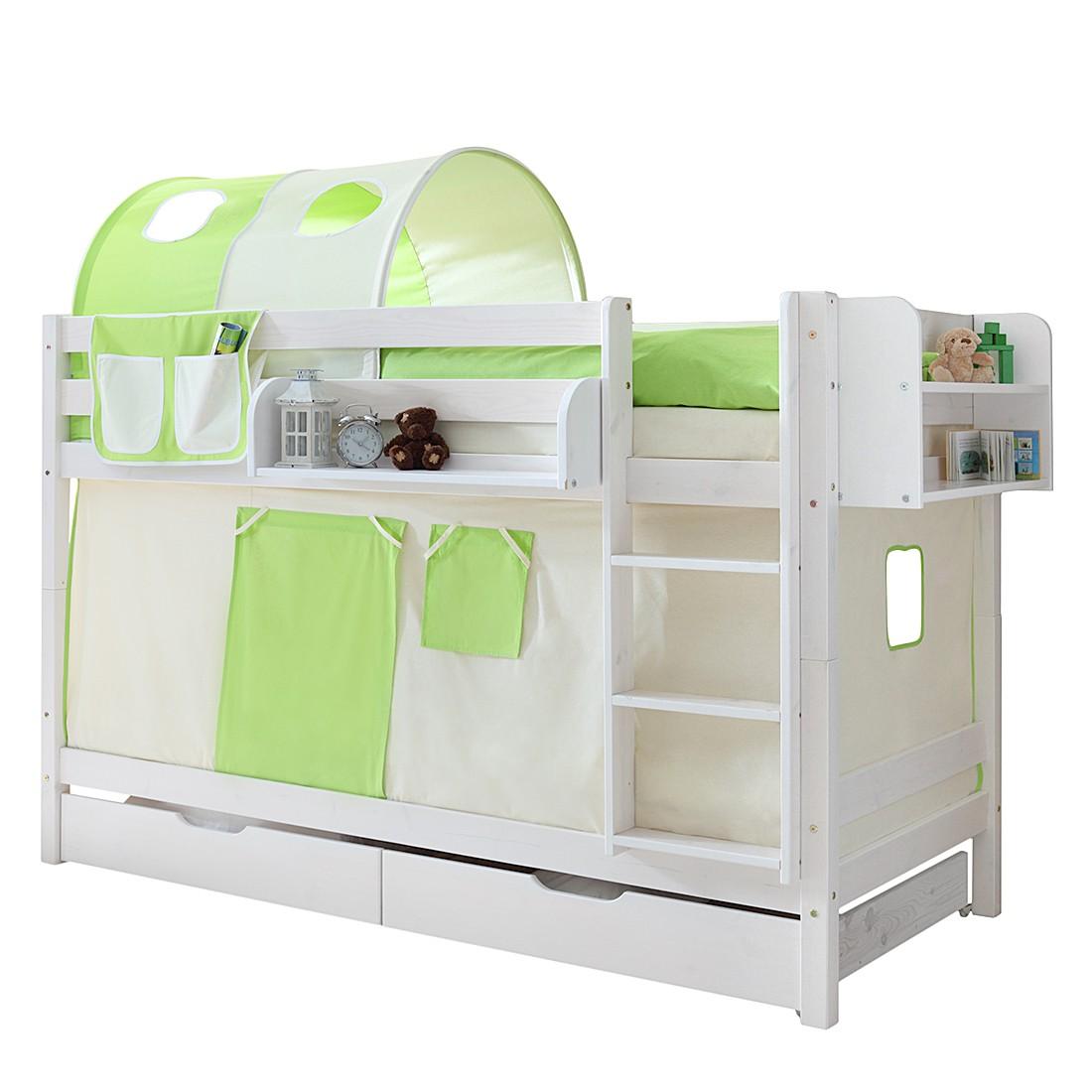 Home 24 - Lit superposé marcel ii - pin massif vert / beige avec tunnel, 2 matelas et sommiers à roulettes, ticaa