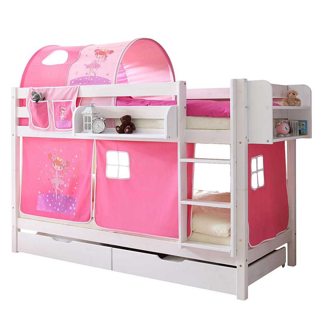 Home 24 - Lit superposé marcel ii - pin massif rose / vif, ticaa