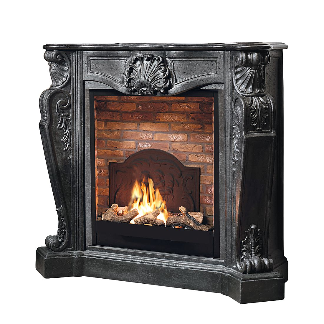 Home 24 - Cheminée à l éthanol louis - grand foyer avec motif en pierre et médaillon, ruby fires