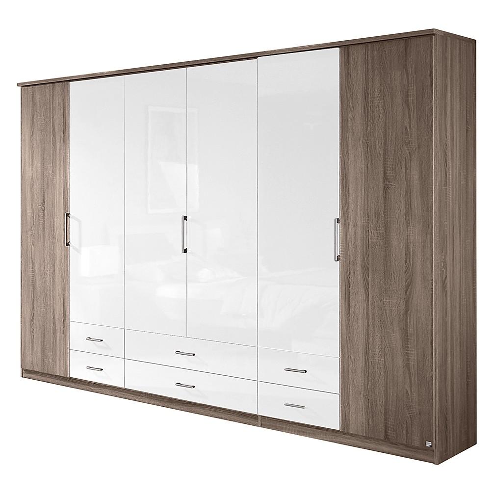 Armoire à portes pliantes Arona - Imitation chêne de la Havane / Blanc brillant - 181 cm - 4 portes,