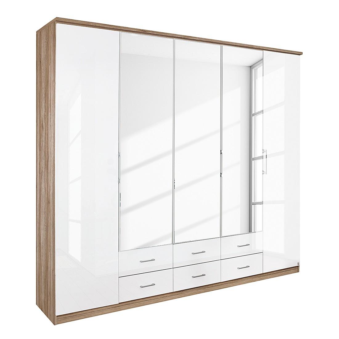 Armoire à portes pliantes Ellwangen - Imitation chêne de San Remo / Blanc brillant - 136 x 199 cm -