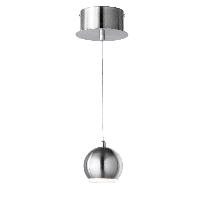 energie  A+, LED-hanglamp Pino I - plexiglas/ijzer - 1 lichtbron - Wit/chroomkleurig, Honsel