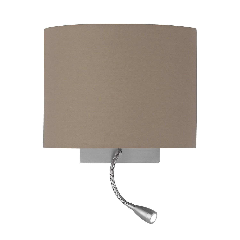 energie  A+, LED-wandlamp Milla - geweven stof/ijzer - 1 lichtbron - Cappuccinokleurig/chroomkleurig, Honsel Leuchten