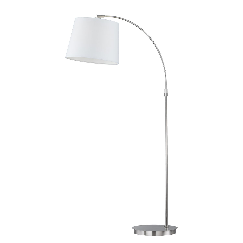 EEK A++, Lampadaire Lund - Tissu / Fer - 1 ampoule - Blanc / Chrome, Honsel