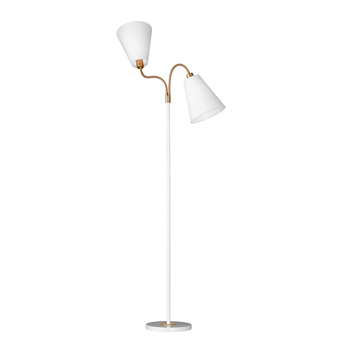 EEK A++, Lampadaire Hopper I - Tissu / Fer - 2 - Blanc, Honsel Leuchten