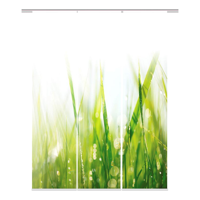 Schuifgordijnen Plymouth (3-delige set) - geweven stof - groen/wit, Ars Natura