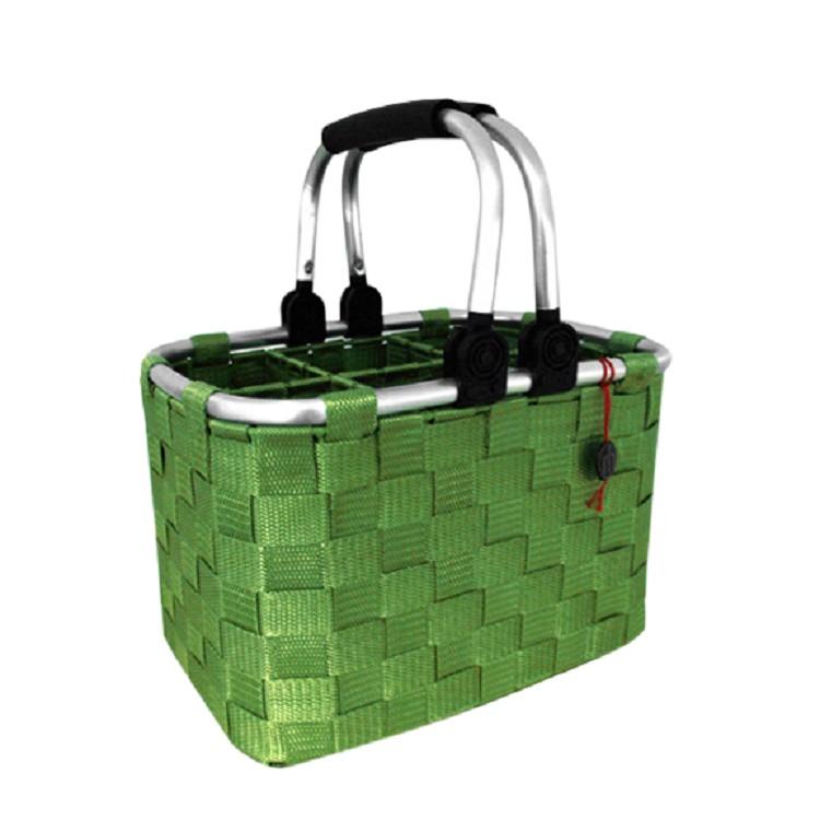 Home 24 - Panier à bouteilles - pour 6 bouteilles - vert - avec poignées métalliques, flechtwaren müller