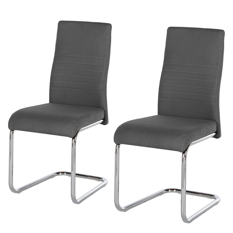 Chaise cantilever Claras (lot de 2) - Tissu - Gris, mooved