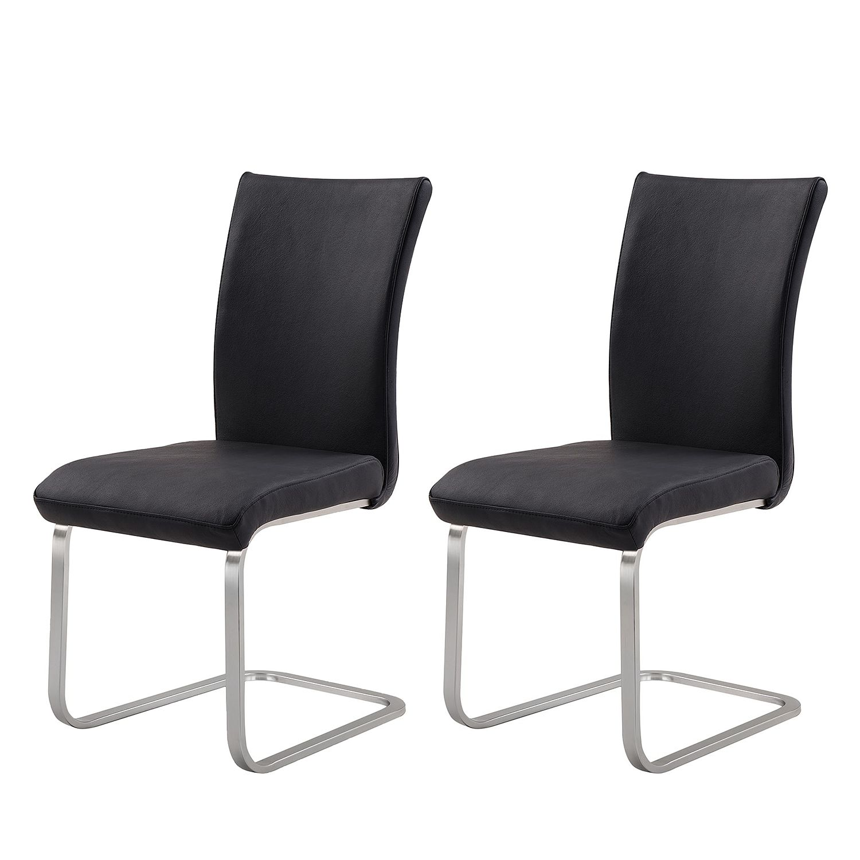 Home 24 - Chaise cantilever fizz (lot de 2) - cuir véritable / acier inoxydable - sans accoudoirs - noir, fredriks