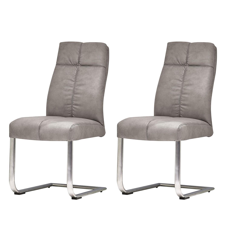 Home 24 - Chaise cantilever stam iii (lot de 2) - gris - cuir synthétique soie, roomscape
