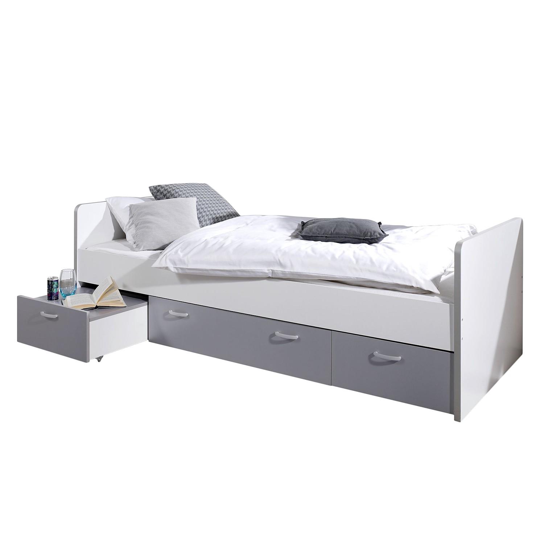 Funktionsbett Bonny - 90 x 200cm - 3 Bettkästen - Weiß / Silber, Relita