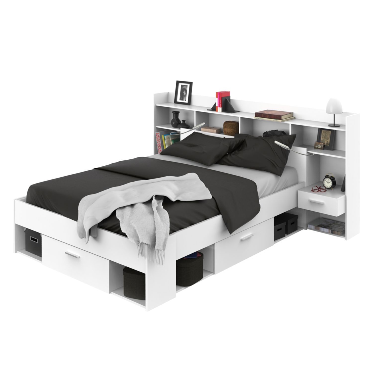Bed met opbergruimte Chicago - Wit, Kids Club Collection